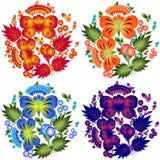 Blumenmuster stellte in die nationale Ukrainer Petrikovka-Art ein Stockfoto