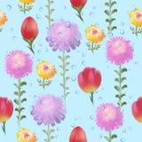 Blumenmuster von malerischen Astern und von Tulpen und von Wassertropfen Lizenzfreies Stockbild