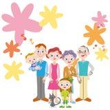 Blumenmusterfamiliensitzung der musikalischen Anmerkung Stockbilder