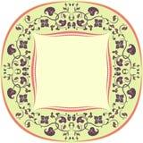 Blumenmusterrahmen. Rund. Gelb, Brown und Koralle Stockfoto