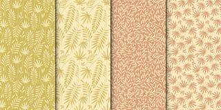 Blumenmustersatz Nahtloses Muster Stilvoller abstrakter Vektoranlagenornamental Lizenzfreie Stockfotos