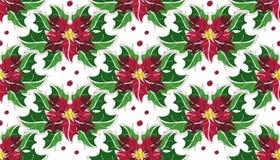 Blumenpoinsettia Weihnachtsnahtloses Muster Stockbild