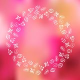 Blumenrahmen auf unscharfem Hintergrund Lizenzfreies Stockbild
