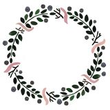 Blumenrahmen: ein Kranz mit Beeren und Blumen Stockbild