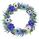 Blumenrahmen mit buntem Aquarell boho Blumenstrauß Stockfoto