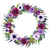 Blumenrahmen mit buntem Aquarell boho Blumenstrauß Stockfotos