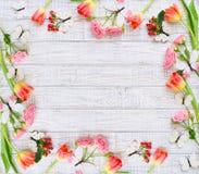 Blumenrahmen mit Frühlingsblumen und -schmetterlingen Lizenzfreie Stockbilder