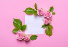 Blumenrahmen mit rosa Rosen auf einem rosa Hintergrund Ecken von Blumen mit leerem Platz für Text Lizenzfreies Stockfoto