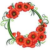 Blumenrahmen mit roten Mohnblumen und Grün wirbelt Lizenzfreie Abbildung