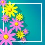Blumenrahmen mit stilisierten Gänseblümchen lizenzfreie stockfotografie