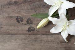 Blumenrahmen mit weißen Lilien auf hölzernem Hintergrund Angeredete vermarktende Fotografie Kopieren Sie Platz Hochzeit, Gutschei Lizenzfreie Stockfotos