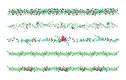 Blumenreben, Grenze, Liane mit Blättern und Blumen Zeichnungs-Aquarell vektor abbildung