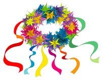 Blumenring mit Farbbändern Lizenzfreies Stockfoto