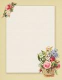 Blumenrose des bedruckbaren Weinleseshabby-chic-stils stationär auf Grünbuchhintergrund stock abbildung