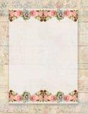 Blumenrose des bedruckbaren Weinleseshabby-chic-stils stationär auf hölzernem Hintergrund lizenzfreie abbildung