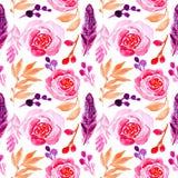 Blumenrose des nahtlosen Musteraquarells und Federillustration stock abbildung