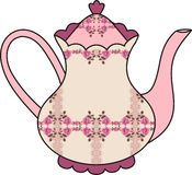Blumenrosenteekanne (Zeit für Tee). Schäbiges Chic. stock abbildung