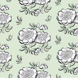 Blumenskizze der weißen Pfingstrose Blaue, grüne, gelbe und rosafarbene Varianten sind mit ENV-Format vorhanden Querstation Lizenzfreies Stockfoto