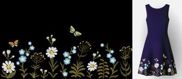 Blumenstickerei auf Kleiderspott oben Arbeiten Sie Dekorationsflecken realistische Illustrations-Frauenkleidung des Vektors 3d um Stockfotografie