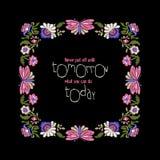 Blumenstickrahmen mit Zitat Stockfoto