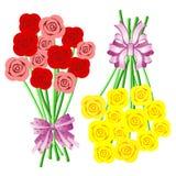Blumensträuße der Rosen mit Bögen und Farbbändern Lizenzfreie Stockbilder
