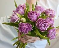 Blumenstrauß in den Händen der Frau Lizenzfreies Stockbild