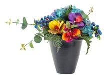 Blumenstrauß der blauen Hortensie und der Vandas Lizenzfreies Stockfoto