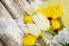 Blumenstrauß der frischen Frühlingstulpe blüht auf weißem hölzernem Hintergrund Stockbild