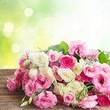 Blumenstrauß der frischen Rosen stockbilder