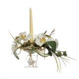 Blumenstrauß der künstlichen Blumen mit Kerze Stockbild