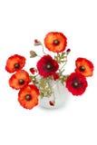 Blumenstrauß der künstlichen Mohnblumen in einem Vase Stockbilder