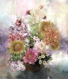 Blumenstrauß der mehrfarbigen Blumenaquarellmalerei Stock Abbildung