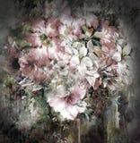 Blumenstrauß der mehrfarbigen Blumenaquarellmalerei auf farbenreichem Hintergrund Stockfotos