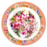 Blumenstrauß der mehrfarbigen Blumenaquarellmalerei auf Kreis Lizenzfreie Stockfotos
