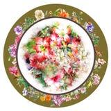 Blumenstrauß der mehrfarbigen Blumenaquarellmalerei auf Kreis Stockfotos