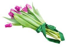 Blumenstrauß der mehrfarbigen Tulpe blüht im weißen Topf Stockfotografie