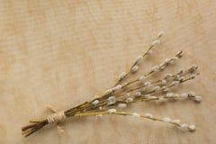 Blumenstrauß der Pussyweide auf dem Weinlesenatürlichen Leinengewebe mit Lizenzfreies Stockfoto