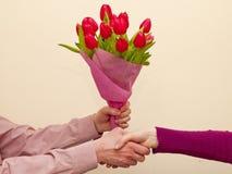 Blumenstrauß der rosafarbenen Tulpen Stockfoto