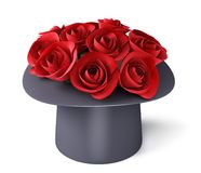 Blumenstrauß der Rosen im Zylinderhut stock abbildung