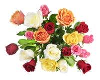 Blumenstrauß der Rosen von oben Stockfoto