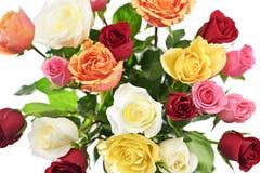 Blumenstrauß der Rosen von oben Lizenzfreie Stockfotos