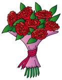 Blumenstrauß der roten Rosen Stockfotos