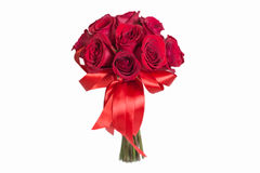 Blumenstrauß der roten Rosen getrennt auf Weiß stockbilder