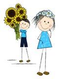Blumenstrauß der Sonnenblumen Stockbilder