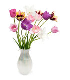 Blumenstrauß der Tulpen auf einem weißen Hintergrund Stockbild