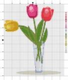 Blumenstrauß der Tulpen in einem Vase Kreuzstichentwurf Stock Abbildung