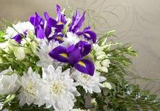 Blumenstrauß der weißen Chrysanthemen, Rosen Stockfoto