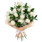 Blumenstrauß der weißen Rosen lokalisiert Stockfoto