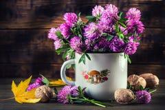 Blumenstrauß des blühenden Klees auf dem hölzernen Hintergrund Stockbild