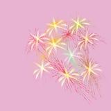Blumenstrauß des Frühlinges blüht auf einem rosa Hintergrund, Vektorillustration Stockbild